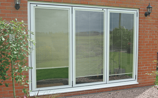 Bi-fold Doors - White Internal Blinds Down