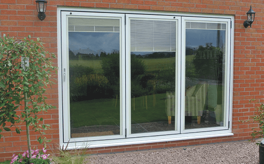 Bi-fold Doors - White Internal Blinds Up